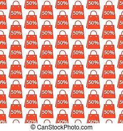 買い物, パターン, セール, 袋, 背景, アイコン