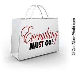 買い物, ビジネス, すべて, セール, 袋, 行く, 行きなさい, 不可欠, から