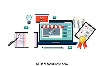 買い物, ビジネス, マーケティング, デジタルのイラスト, ベクトル, インターネット, オンラインで