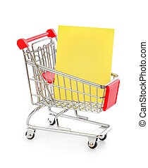 買い物, ペーパー, カート, メモ