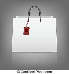 買い物, ペーパー, tag., 袋, セール, ブランク