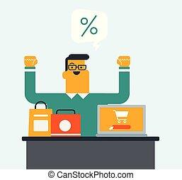 買い物, ラップトップ, screen., カート, 使うこと, 人