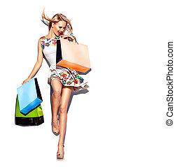 買い物, 不足分, dress., 白, 袋, 女, 美しさ