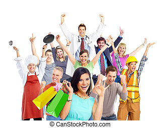 買い物, 人々。, 女, グループ, 幸せ