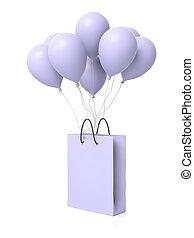 買い物, 付けられる, 隔離された, 袋, ブランク, グループ, 風船