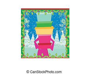 買い物, 冬, -, セール, クリスマスカード