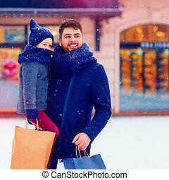 買い物, 冬, 都市, 父, 息子, プレゼント, 休日, 購入