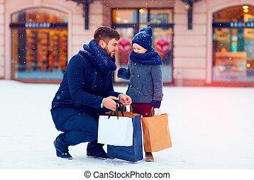 買い物, 冬, 都市, 父, 息子, プレゼント, 季節, 休日, 購入