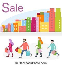 買い物, 大きい, concept., city., セール