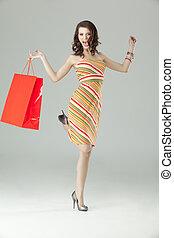 買い物, 女, 非常に, 若い見ること, 肖像画, 幸せ