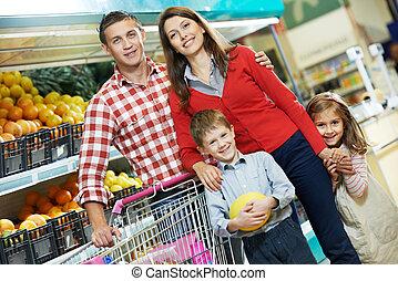 買い物, 子供, 家族, 成果