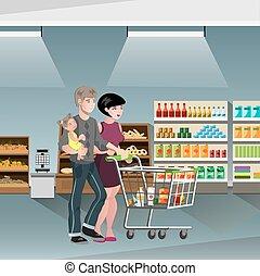 買い物, 家族, カート