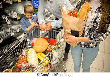 買い物, 家族, 若い, スーパーマーケット, 食料雑貨, 幸せ