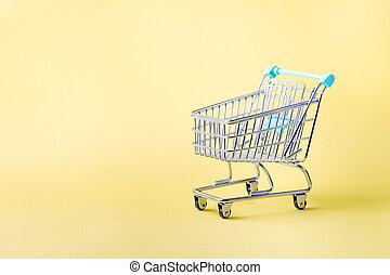 買い物, 小さい, カート, 空