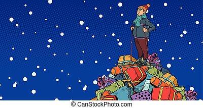買い物, 山, 中年, セール, gifts., 人, クリスマス, スキーヤー