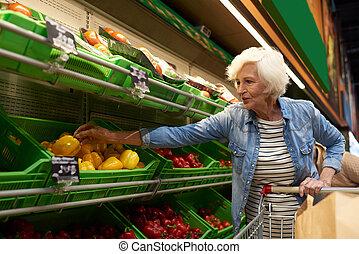 買い物, 年長の 女性, スーパーマーケット