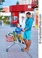 買い物, 後で, 父, スーパーマーケット, 息子, 幸せ