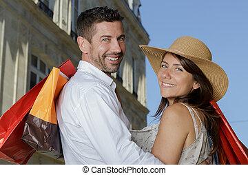 買い物, 恋人, 週末, 中年