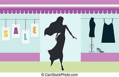 買い物, 旗, 女 シルエット, セール