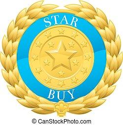 買い物, 星, 金, 花輪, 勝者, 月桂樹, メダル