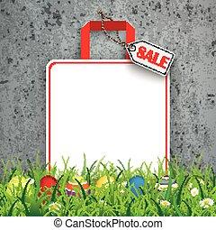 買い物, 有色人種, 袋, 卵, セール, コンクリート, 草, イースター