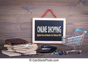 買い物, 木製である, concept., 黒板, 背景, オンラインで