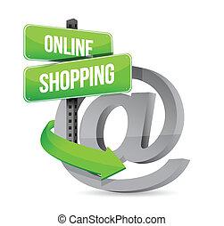 買い物, 概念, デザイン, イラスト, オンラインで