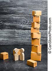 買い物, 概念, 交通機関, ビジネス 人々, monday., kibber, boxes., friday., 取引, 出産, 黒, 立ちなさい, オンラインで, サービス, goods., ボール紙, セール, タワー, 話