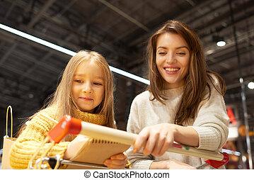 買い物, 母, スーパーマーケット, 娘