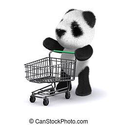 買い物, 熊, 行く, 赤ん坊, パンダ, 3d