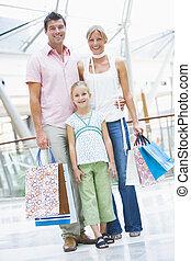 買い物, 父, 若い, モール, 母, 娘