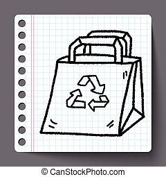 買い物, 環境, いたずら書き, リサイクルされる, 保護, bag;, concept;