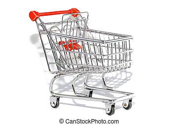 買い物, 白い背景, カート