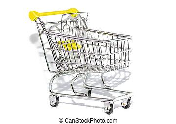 買い物, 白, 黄色, カート, 背景