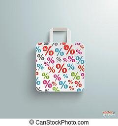 買い物, 紙袋, percents, 白