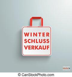 買い物, 紙袋, winterschlussverkauf, 白