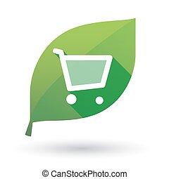 買い物, 緑の葉, カート, アイコン