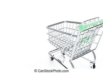 買い物, 背景, カート, copy-space, 白, 空