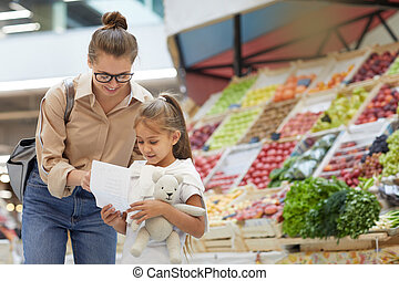 買い物, 若い, 市場, 母