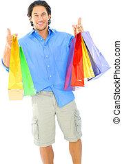 買い物, 若い, 袋, 届く, 幸せ, 人