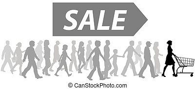 買い物, 買い物, パレード, セール, カート, 買い物客, リーダー