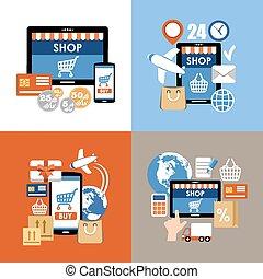 買い物, 買い物, set., インターネット, インターネット商業, オンラインで