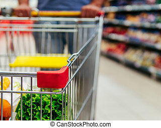 買い物, 通路, スペース, カート, スーパーマーケット, コピー