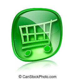 買い物, 隔離された, カート, バックグラウンド。, 緑, ガラス, 白, アイコン