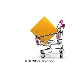 買い物, 隔離された, カート, 付せん, バックグラウンド。, 白