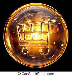 買い物, 隔離された, カート, 火, 黒い背景, アイコン