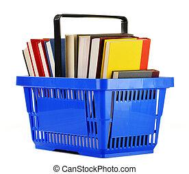 買い物, 隔離された, プラスチック, 本, バスケット, 白