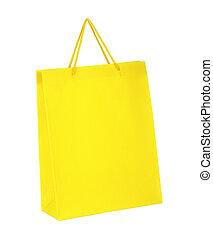 買い物, 隔離された, 黄色, 袋, ペーパー, 背景, 白