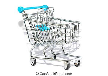 買い物, 青い背景, カート, 白
