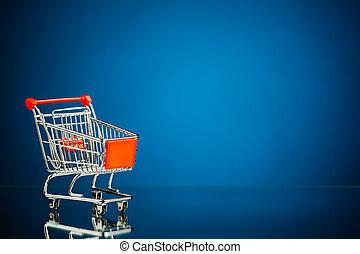 買い物, 青, 空, copy-space, 背景, カート